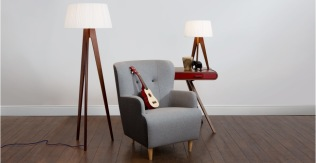 Wooden Floor Lamp Mid Century Retro