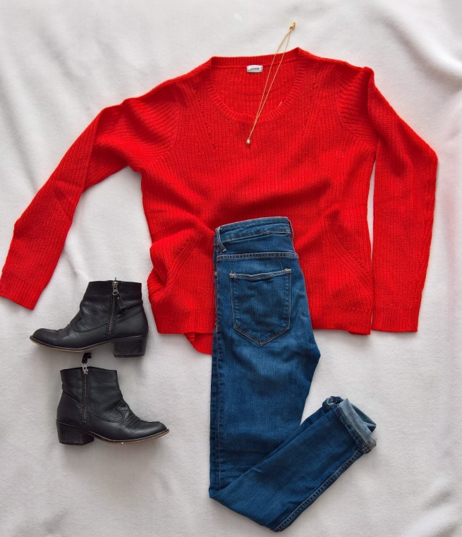 Red Knitted Jumper Autumn Fashion 2017